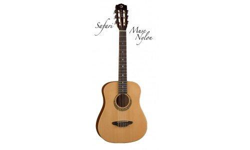 Luna SAFNYL Safari Travel Size 3/4 Nylon Acoustic Guitar with Gig Bag, Satin