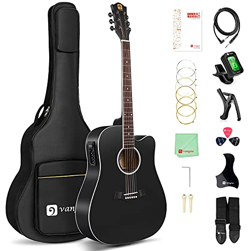 Vangoa Acoustic Electric Guitar Bundle 41 Inch Full Size Dreadnought Cutaway Acoustic Electric Guitar Package for Adults Beginners with Gig Bag and User Manual, Matte Black