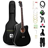 Vangoa Acoustic Electric Guitar, 41 Inch Full Size Dreadnought Acoustic-electric Cutaway Guitar Folk Beginner Kit, Black