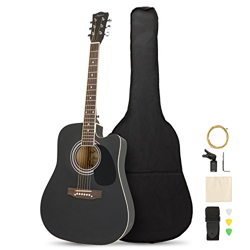 Artall 41 Inch Handmade Solid Wood Acoustic Cutaway Guitar Beginner Kit with Tuner, Strings, Picks, Strap, Matte Black