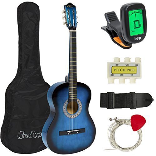 Best Choice Products 38in Beginner Acoustic Guitar Starter Kit w/Case, Strap, Digital E-Tuner, Pick, Pitch Pipe, Strings (Blue)
