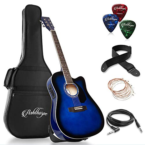 Ashthorpe Full-Size Cutaway Thinline Acoustic-Electric Guitar Package - Premium Tonewoods - Blue