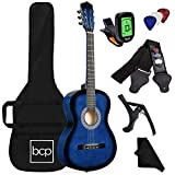 Best Choice Products 38in Beginner All Wood Acoustic Guitar Starter Kit w/Gig Bag, Digital Tuner, 6 Celluloid Picks, Nylon Strings, Capo, Cloth, Strap w/Pick Holder - Blue