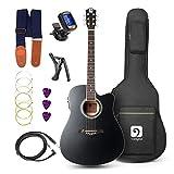 Guitar Acoustic Electric, Acoustic Guitar Cutaway 41 Inch Full Size Beginner Kit, Black