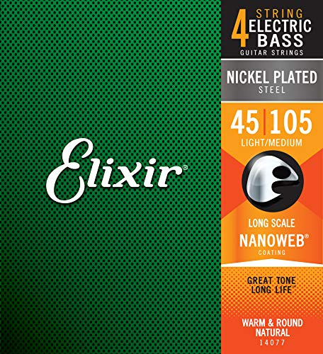 Elixir Strings Nickel Plated Steel 4-String Bass Strings w NANOWEB Coating, Long Scale, Light/Medium (.045-.105)