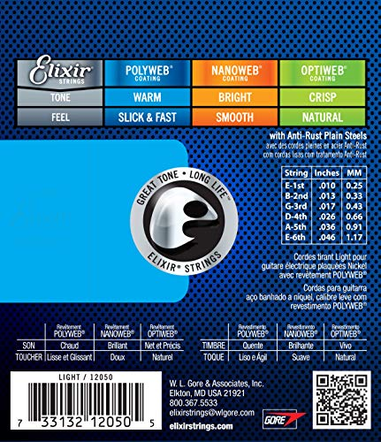 Elixir Strings Electric Guitar Strings w POLYWEB Coating, Light (.010-.046)